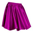 27 Clr Women Girl Satin Short Mini Dress Skirt Pleated Retro Elastic Waist S-3XL
