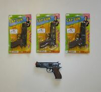 "3 NEW BLACK TOY CAP GUNS 7"" POLICE PISTOL SUPER 007 REVOLVER FIRES 8 RING CAPS"