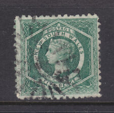 N.S.W. : 5d Green Qv Sg 231 Perf 10 Wmk C Nsw Inverted Used But Creased