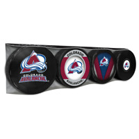 Colorado Avalanche Collectors Package of (4) NHL Team Logo Souvenir Hockey Pucks