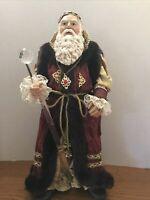 "Santa Claus Father Christmas Figurine 16"" High Crystal Staff Wizard Clothtique"