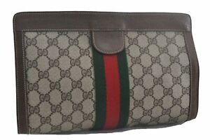 Authentic GUCCI Web Sherry Line Clutch Bag GG PVC Leather Brown Beige C5716
