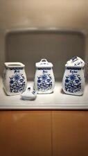 3X Vorratsdosen Vorratsbehälter Keramik Salz Mehl Zucker Büchse