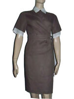 Size 4 MAX MARA 100% Linen Brown Gray Taupe White Wrap Dress Knee Double Layered
