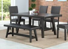 Rubber wood 6pc Dining set Contemporary Table Chair & Bench Natural Look
