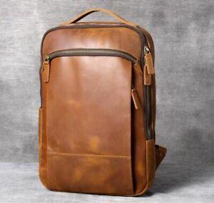 Vintage Leather Backpack For Men Shoulder Bag Computer Bags Retro Mad Horse