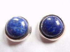 Round Lapis 925 Sterling Silver Stud Earrings Corona Sun Jewelry