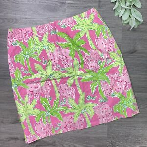 Lilly Pulitzer Taboo Size 4 Skirt Pink Green Elephant  Palm Trees Print