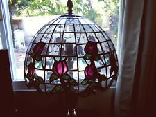 """Stained Tiffany Style Glass Lamp Shade """"Roses"""" 15"""" Vintage"""