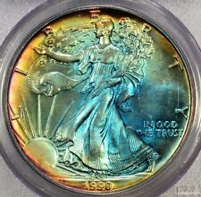 1990 ASE PCGS MS 62 Rainbow Tone Colors - Two Sides - Colorful Toning~