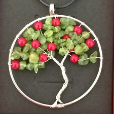 Traverse City Cherry Tree of Life Necklace, Handmade Spiritual Gift. Silver Wire