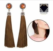 MACKRI Circle Shape Gemstone Long Tassel Drop Earrings BROWN
