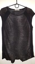 OASIS Womens Top Black Silver Animal Print Cap Sleeves Party Casual Size Small