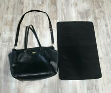 Coach Black Leather Diaper Bag With Changing Pad Large Tote