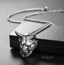 CHUNKY DEVIL PENDANT NECKLACE - HORNED DEMON PUNK BIKER CHARM WITH CHAIN-UNISEX