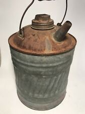 -Antique Metal Oil Can One Gallon Defiance Label On Cap
