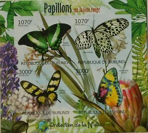 Butterflies of Red List Nature protection m/s Burundi Sc.1125 #BUR12410a IMPERF