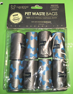 Nandog DOG PET WASTE POOP PRINTED COLOR BAGS 8 REFILL ROLLS WITH PLASTIC CORE