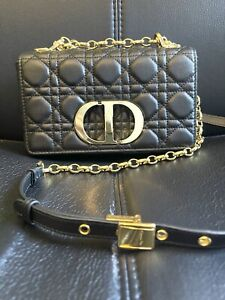 Dior Supple Cannange Calfskin Leather Small Caro Chain Shoulder Bag