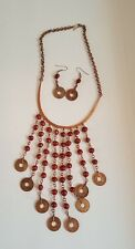 Necklace and Earrings Set Jewelry African Vintage Cooper Seed bead