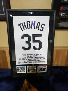 Chicago White Sox hall-of-famer Frank Thomas autographed Jersey piece custom...