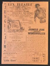 1949 Malaya English movie flyer JUNGLE JIM Johnny Weissmuller Tazan