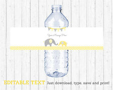 Yellow Chevron Elephant Water Bottle Labels Printable Editable PDF
