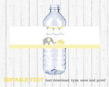 Yellow Chevron Elephant Water Bottle Labels Printable Editable PDF