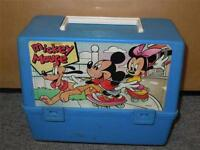 Vintage Thermos Brand Blue Mickey Mouse Lunchbox Goofy Minnie 1980s Disney Rare