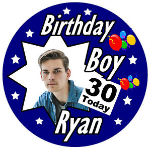 30th MENS PERSONALISED BIRTHDAY BADGE, ANY AGE, NAME, PHOTO, AND COLOURS / GIFTS