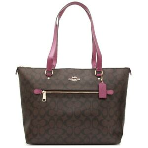 Coach Gallery Large Signature Canvas Tote in Brown Metallic Berry F87701