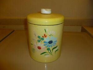 VINTAGE RANSBURG SINGLE METAL TIN CANISTER HAND PAINTED MID CENTURY RETRO CUTE