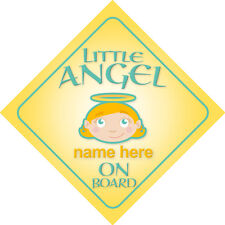Little Angel On Board Personalised Child/Baby Girl Car Sign