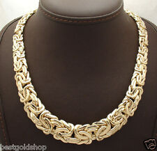 """18"""" All Shiny Graduated Bold Byzantine Necklace Real 14K Yellow Gold 45.8gr"""