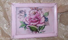 SHABBY  FRAME PINK ROSE SPARKLY PRINT CHIC FRENCH COTTAGE WALL DECOR