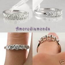 1.10 CT F VS2 5 ROUND DIAMOND ANNIVERSARY CATHEDRAL WEDDING RING 14K WHITE GOLD