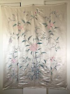 """Large Antique Vintage Chinese Fine Silk Embroidery Flower Plant (75"""" x 59"""" in.)"""