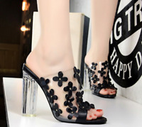 Women Clear Transparent SandalsHigh Block Heels Pull On Open Toe Slippers Shoes