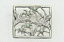 Solid .925 Sterling Silver 9.3 g Vintage Birds with Jade Flowers Pin Real
