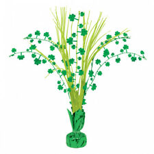 3 x St Patricks Day Green Shamrocks Spray Party Table Centrepiece Decorations