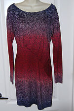 $398 DIANE VON FURSTENBERG DVF ruched long sleeve PURPLE red SILK DRESS 8 NEW