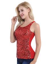 Damentop Glänzend Pailletten Unterhemd Weste Tank Top Damen Shirt mit Glitter