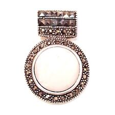 Round MOTHER OF PEARL STONE PENDANT & Marcasite .925 STERLING SILVER
