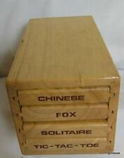 Wood Chest with 4 Games Pintoy Chinese Checkers Solitaire 6.5 x 3.5""