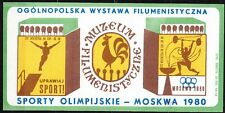 POLAND 1978 Matchbox Label - Cat.A#120 Exhibition - Olympic Games Moscow 1980