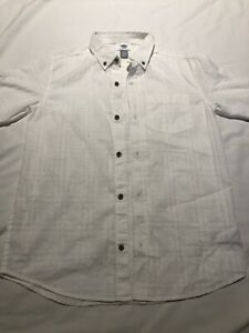 Boys Old Navy Pocket Dress Shirt Size Large White Cotton Solid Button Up