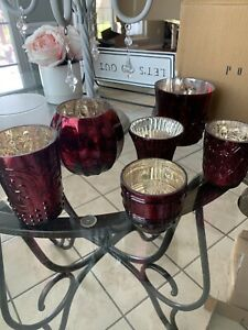 NEW And Boxed Pottery Barn Antiqued Mercury Glass Votive Holders Set of 6 Red