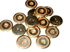 "Vintage lot of 12 Metal Gold Tone Buttons 15 mm (5/8"")"