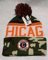 Chicago Bears Camouflage  Team Color Landmark Patch  Pom Pom Knit Beanie Hat