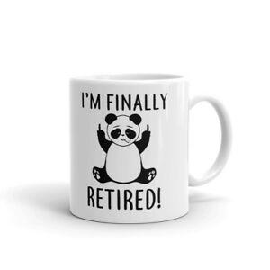Finally Retired! Middle Finger Panda Coffee Tea Ceramic Mug Office Work Cup Gift